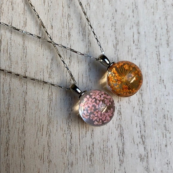 pink flower terrarium necklace